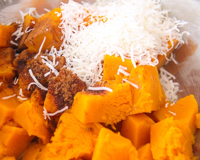 Sweet Pumpkin Pie filling full of fresh and colourful ingredients. Image © Skye Gilkeson
