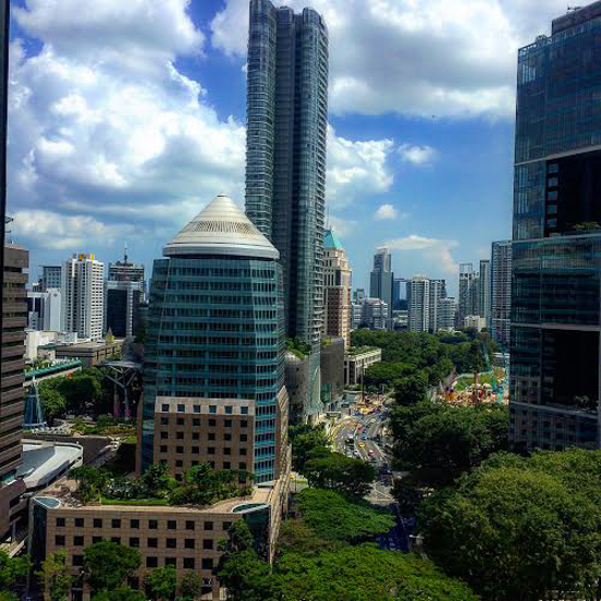 View from our picture window in our Four Seasons Hotel Singapore