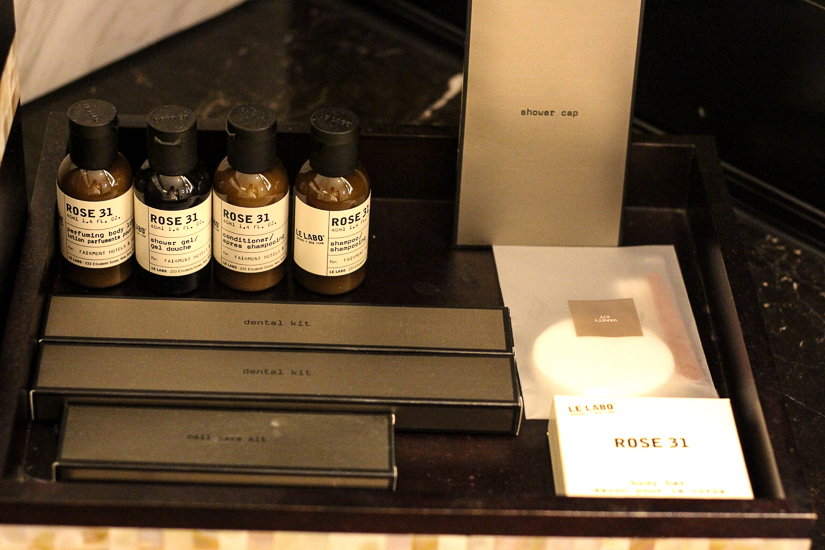 Le Labo bath products at Fairmont Singapore