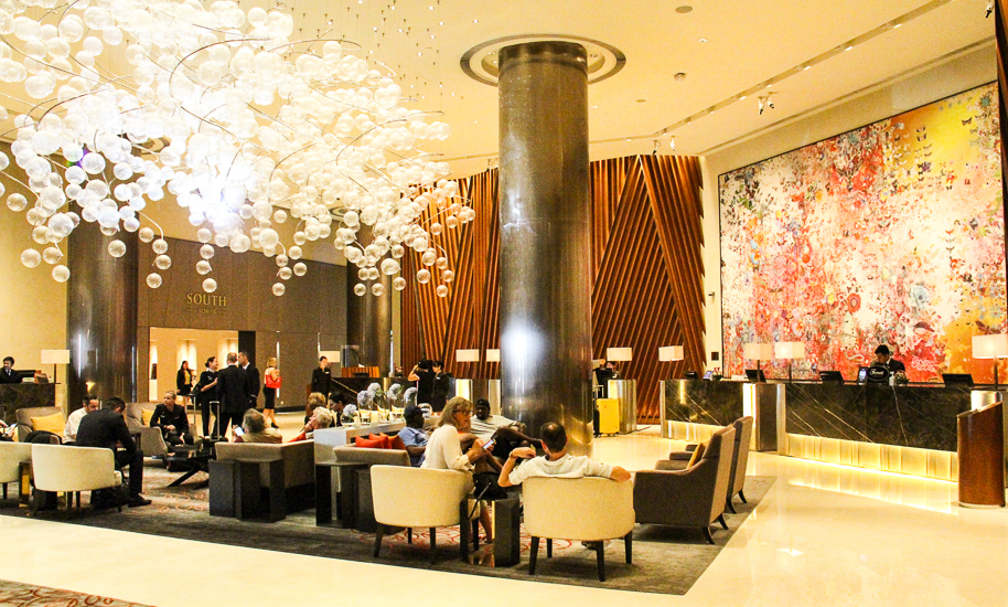 Stylish lobby at Fairmont Hotel Singapore. Best 5 star luxury hotel in Singapore.