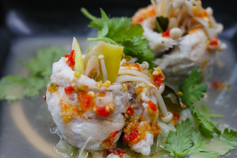 Steamed Fish with Thai Aromatics at The EDGE Restaurant, Aleenta Phuket Resort and Spa. Image © Skye Gilkeson