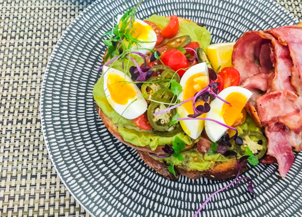 Colourful and delicious Smashed Avocado on toast at Graze, Elements of Byron. Image ©Skye Gilkeson