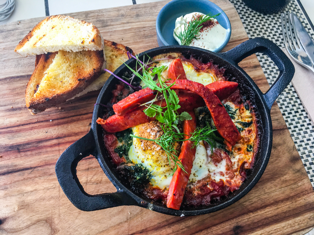Graze serves paddock to plate fare from local produce like this Shakshuka eggs. Elements of Byron. Image ©Skye Gilkeson