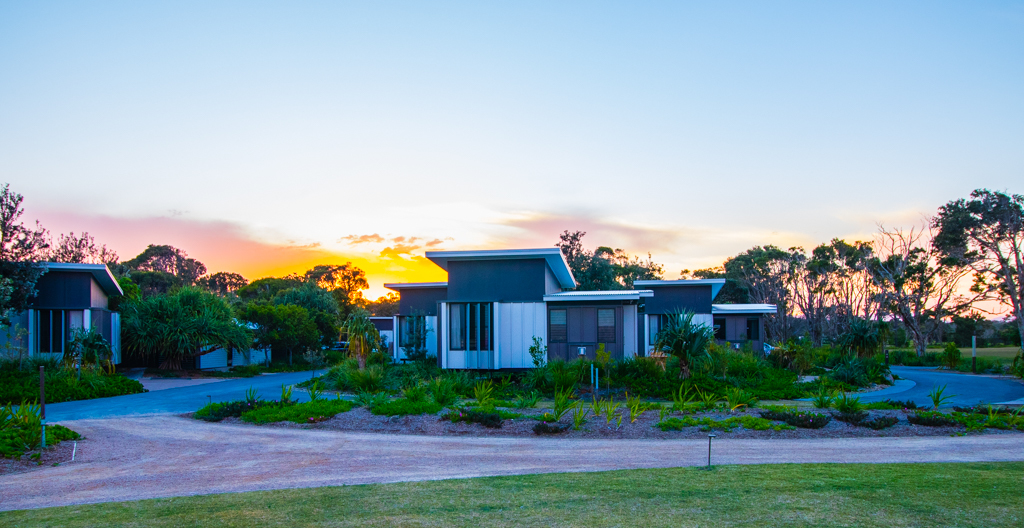 Perfect stillness as the sun sets over our Beachside Villa at Elements of Byron. Image ©Skye Gilkeson