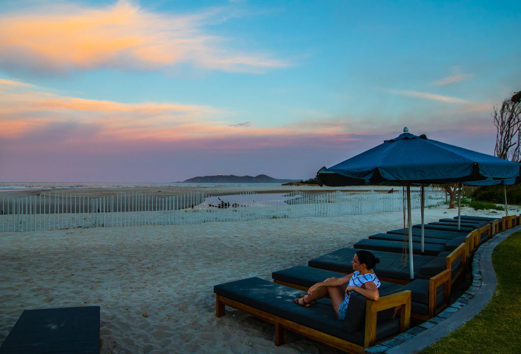 A private sunset show footsteps from our Beachside Villa at Elements of Byron. Image ©Skye Gilkeson
