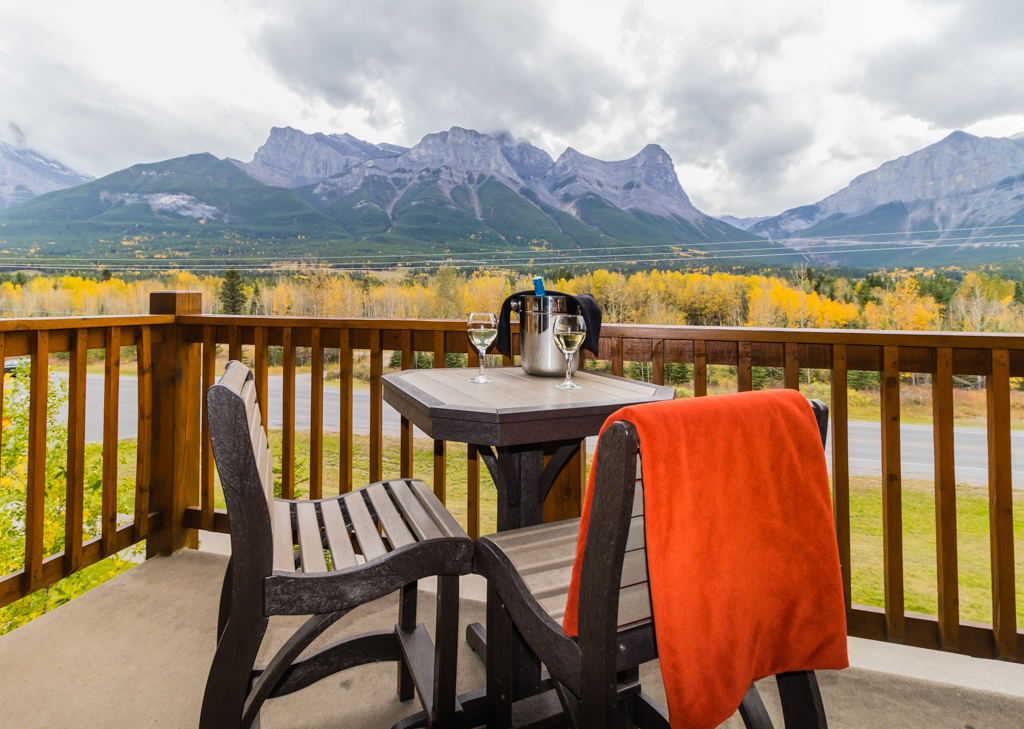 Our incredible private balcony at Stoneridge Mountain Resort, Canmore. Image © Skye Gilkeson