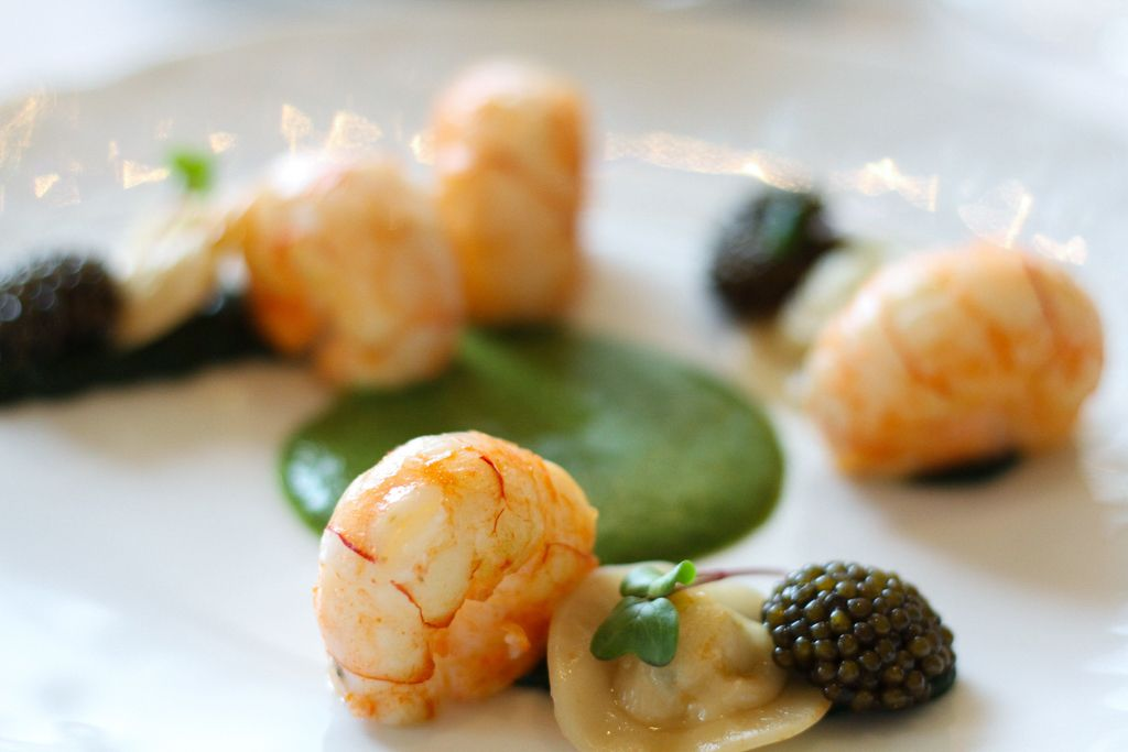 The Langoustine with ravioli with Wild Mushrooms, Watercress Coulis and Kristal Caviar. Image © Skye Gilkeson