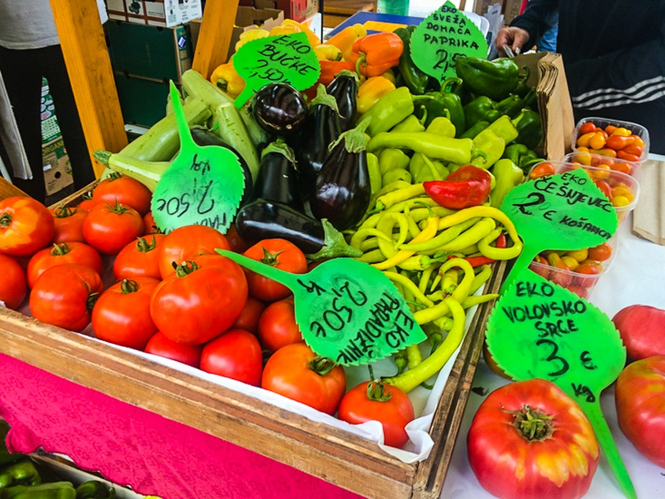 Bright, fresh organic vegetables at the Central Market in Ljubljana, Slovenia. Image © Skye Gilkeson