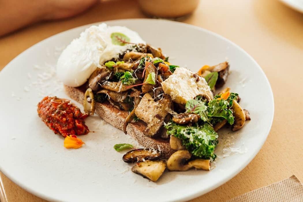 mushrooms on toast mylk and ko brisbane