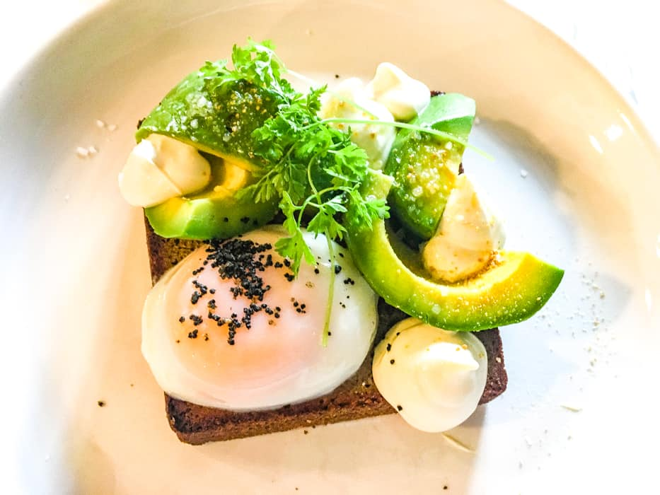 avocado on toast at sourced briisbane